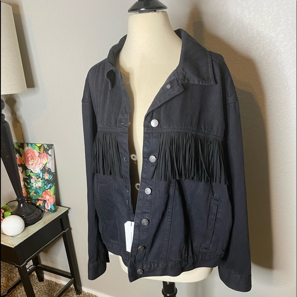 Express Jackets & Blazers - Express Distressed Wash Fringe Jacket NWT Sz XL